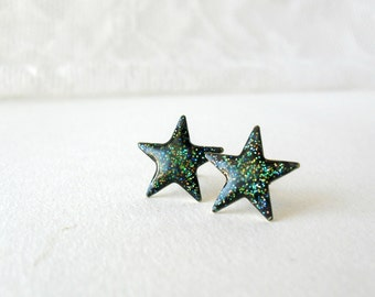 Galaxy glitter star posts earrings- Astronomy studs- Shiny space earrings- everyday jewelry