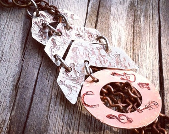 Hand Stamped Rockin Chevron and Washer Pendant - Music Lovers - Guitars - Musical Notes - Boots - Hats - Headphones