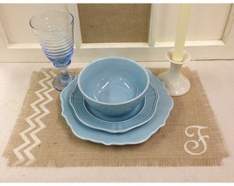 """Burlap Placemats 12"""" x 18"""" set of 4, 6 or 8 with chevron & an initial"""