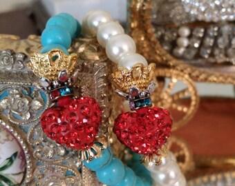 DIVINE!-Handcrafted Religious Christian Catholic Jesus Christ Valentine Sacred Heart Crown Stretch Pearl Bracelet w/ Rose Embellishment