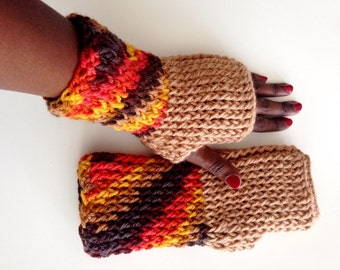 Ready to ship/ Crochet Chunky Fingerless gloves/Birthday gift/ Winter fashion