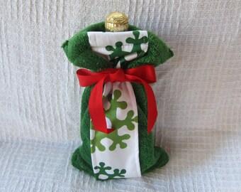 Snowflake and Christmas Green Fleece Wine Bottle Fabric Gift Bag