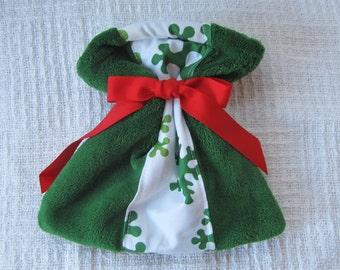 Snowflake and Christmas Green Fleece Small Fabric Gift Bag
