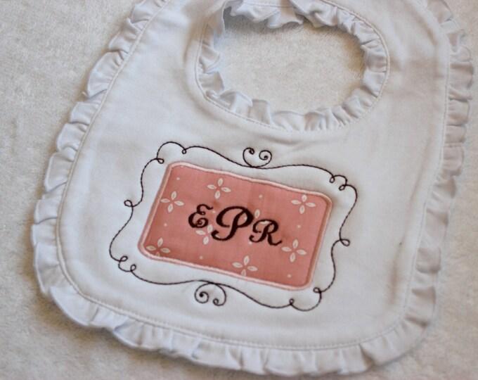 Monogrammed Bib, Baby Girl Ruffle Bib, Baby Girl Monogram Bib, Baby Shower Gift, New Baby Gift, Personalized Baby, Personalized Girl, Pink