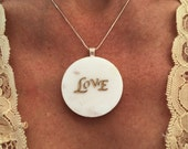 The Word Love Original Necklace Made in Medium Size Marble. Brown or White stone. Wife, Girlfriend, Bride, Mother. Pin it if you like it!