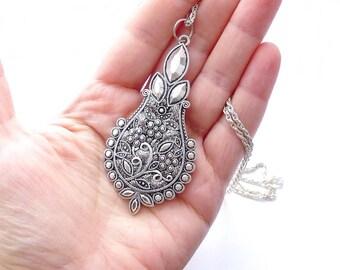 Silver teardrop polymer clay jewelry, Polymer clay necklace, Polymer clay pendant Floral necklace polymer necklace, unique polymer jewelry