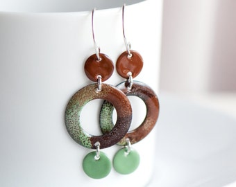 Geometric Earrings, Minimalist Jewelry, Copper Enamel, Earth Tones, Browns Greens, Dangle Earrings, Modern Style, Disc Earrings, Hippie Boho