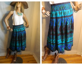 50% off Vintage Boho Paisley Print skirt Elastic Waist size s-m