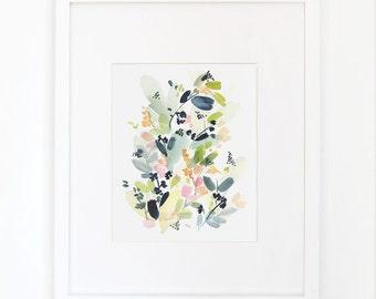 Floral Movement in Indigo- Watercolor Art Print