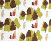 Cute Bear Print fabric - half meter - 100% Cotton -  pink brown green on white - quilting patchwork craft bunting doll toy making