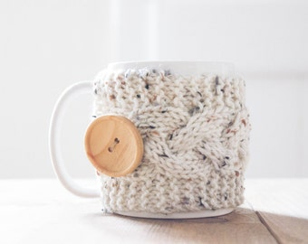 Mug Cozy, Speckled Oatmeal Knit with Wood Button, mug cozie, mug sleeve, coffee cup cozy, cable knit