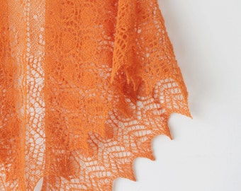 Knitted orange lace shawl, Orange wool shawl, Orange lace wrap, Tangerine knitted shawl, Orange lace wrap, Rustic orange shawl, Boho shawl,
