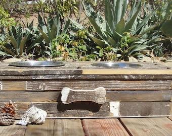 Salvaged Wood  Elevated Dog Feeding Station