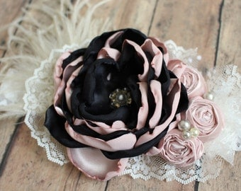 Blush and Black Headband, Elegant Hair Accessory, Vintage Inspired Hair Bow, Girl Photo Prop, Flower Girl, Birthday Girl, Special Occasion