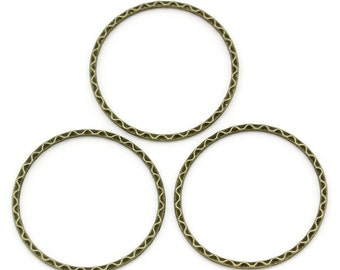 Antique Bronze Closed Ring Large  Antique Brass Wavy Closed Ring 39 mm 3 pieces