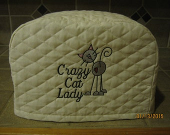 Toaster Cover 2 or 4 Slice,  Crazy Cat Lady Design