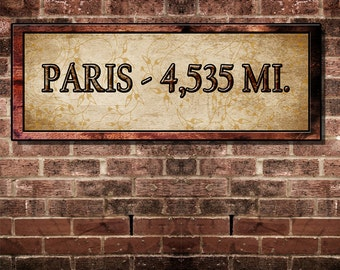 Fine Art, Paris Distance Sign Decor For Your Home. 16 by 6 inches Mounted and Ready To Hang. Free Ship
