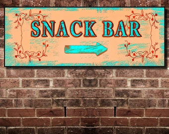 Fine Art,Snack Bar Sign. 16 by 6 inches Mounted and Ready To Hang. Free Ship
