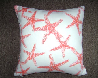 Salmon Starfish Pillow Cover, 18''x18'' Beach Decor Pillow Cover, Starfish Decorative Pillow Cover
