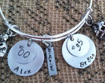 Sports Mom Single Bangle with 2 Names & Numbers