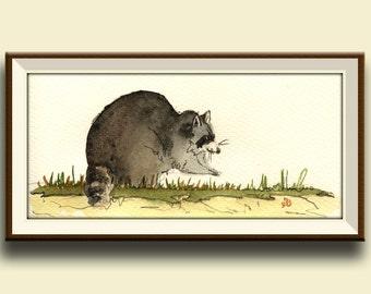 PRINT-Raccoon in the forest -raccoon nursery-forest animal art print watercolor - Art Print by Juan Bosco