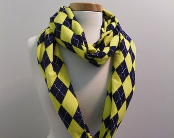 Infinity Scarf, Extra Long - Blue and Yellow