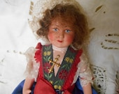 50's French Celluloid Doll Blue Folk Art Costume Gold Braid Lace Bonnet Hand Painted Face White Dotted Sheer Blouse Crucifix