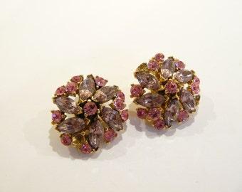 Gorgeous Vintage Pink & Lavender Rhinestone Clip Earrings