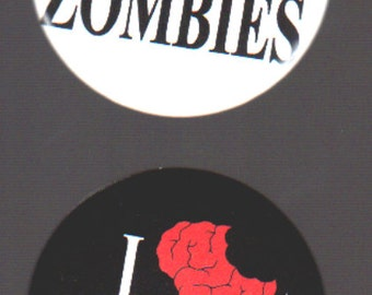I Heart Zombies - Two 1.75in Buttons