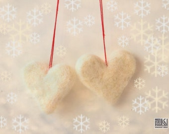 2 white hearts, heart ornament, Valentine decoration, love gift tag, felted decor, needle felted