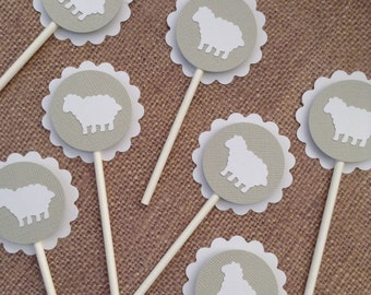24x Little Lamb Cupcake Toppers