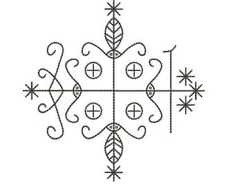 """Machine Embroidery Design Instant Download - Veve """"Papa Legba"""" Quilting Redwork"""