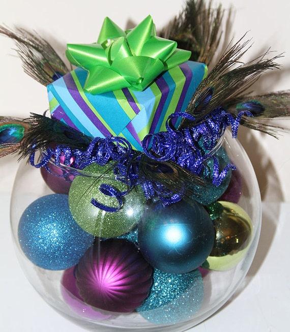 Items similar to peacock christmas centerpiece purple