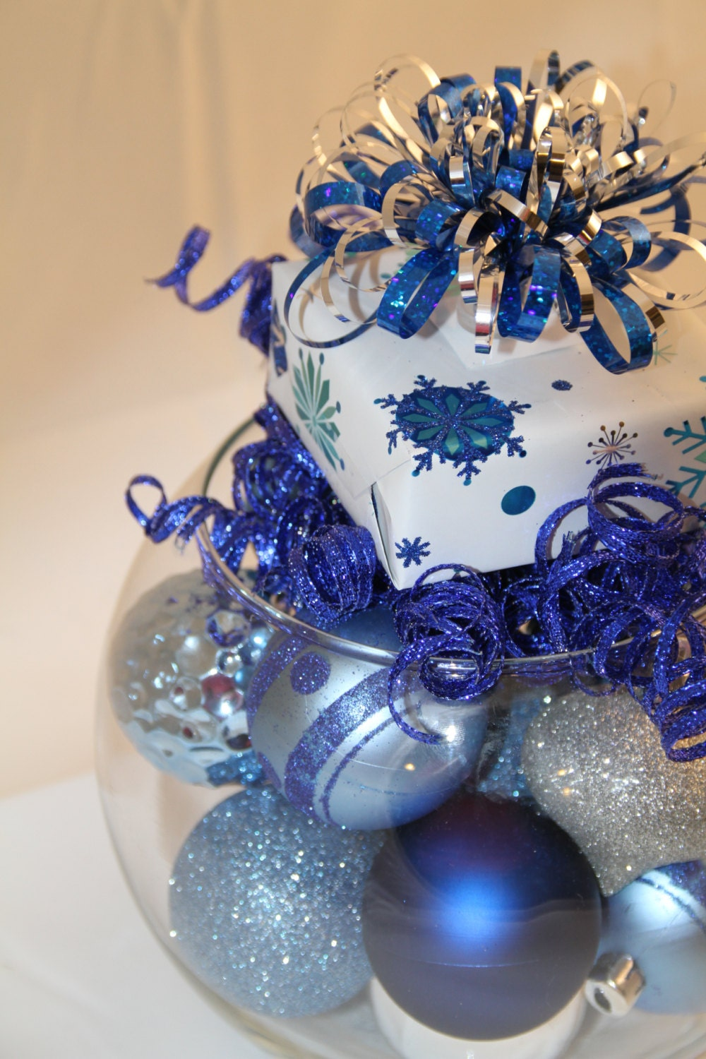 Christmas bubble bowl centerpiece blue and by