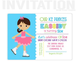Ice Skating Invitation, Ice Skating Birthday Party, personalized thank you cards, birthday invitations, party invitations / No.337