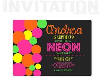 Neon Polka Dots Birthday Party Invitations, personalized thank you cards, birthday invitations, party invitations / No.594