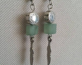 Square jade stone and feather earrings - hypoallergenic