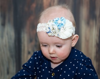 Vintage Cream and Blue Lace Headband