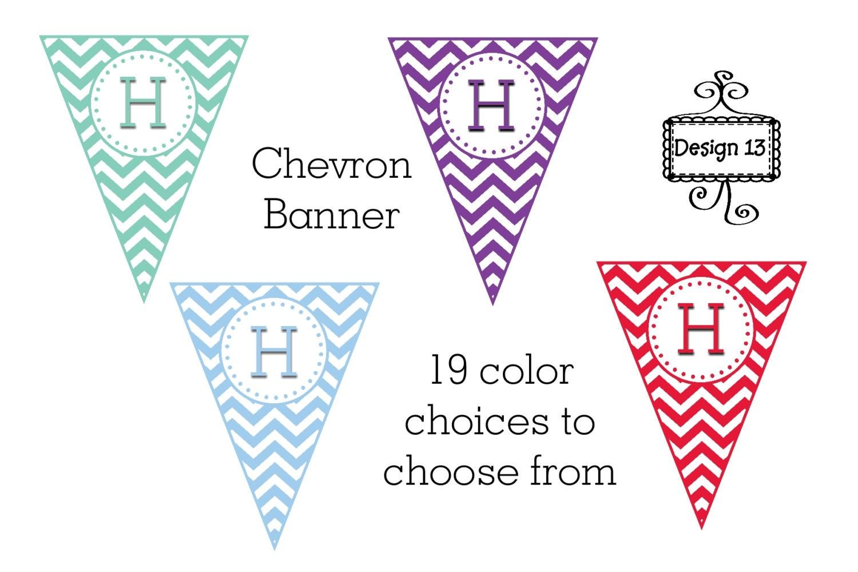 19 color choices chevron banner digital printable. Black Bedroom Furniture Sets. Home Design Ideas