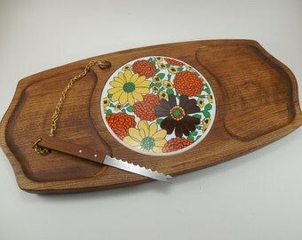 Vintage Gail Craft Wood Tray Ceramic Tile and Knife, Mid Century Wood Cheese Charcuterie Serving Snack Tray Ceramic Tile Attached Knife