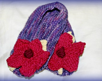 Small Purple Women's / Girl's Slipper w Large Flower