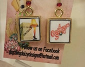 Vintage Scrabble Tile Earrings for Christmas,  holiday, movie, A Christmas Story, 'fragile', leg lamp