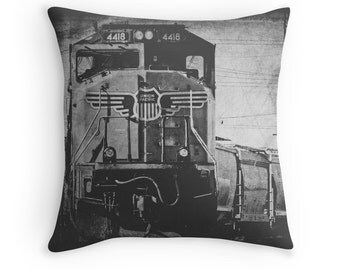 Union Pacific Train Pillow Cover, 'A Train to Chicago' Man Cave Decor, Railfan, Freight Train Photo Pillow, Grungy, Black and White
