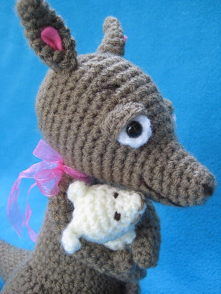 Amigurumi Parent And Baby Animals Free Download : Amigurumi Kangaroo Mom And Baby Animal Toy Doll by ...