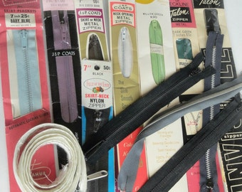 Vintage Zippers, Variety Mix, Sewing Notions, Craft Supplies, Blue, Black, Green, Purple, White