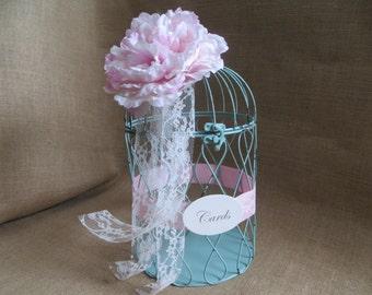 Pick your flowers & ribbon, Vintage Style, Aqua Wedding BirdCage Card Holder, Wedding Card Box, Money Holder, Money Box, Gift Card Holder