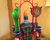 Hand painted tequila decanter and shot glasses