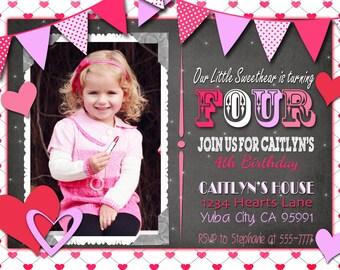Valentine Birthday Party Invitation / Valentine card / hearts / pink / purple / Invitation