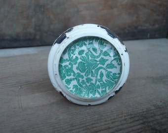 Shabby Chic - Cast Iron Distressed White & Aqua with Glass Floral Pattern Knob - Drawer Pulls - Beach Rustic Cottage Home Decor