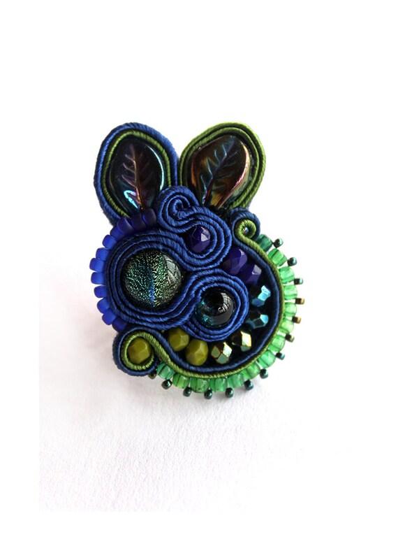 RING, Soutache Indigo and Green Ring, HANDICRAFT